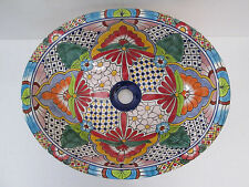 "17"" TALAVERA SINK drop in mexican bathroom sink handmade ceramic mexico folk art"