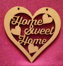 Home Sweet Home Heart Plaque Sign 18 X 18cm Large Mdf Wood Wooden