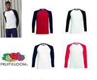 Fruit of the Loom Long sleeve baseball tee All Sizes