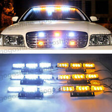 54 LED Car Truck Strobe Emergency Warn Light Deck Dash Grille White Amber US