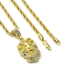 """Mens 14k Gold Plated Small Lion Fully Cz Pendant Hip-Hop 30"""" 4mm Rope Chain"""