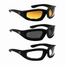 3 PACK / PAIRS COMBO Chopper Wind Resistant Padded Sunglasses Motorcycle Glasses
