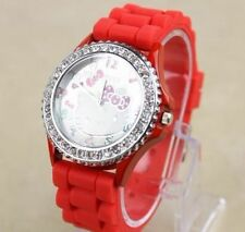 Big Face Lovely Rhinestones Hello Kitty Girls Ladies Wrist Watch Quartz Red