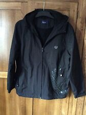 Fred Perry hooded coat youth large (42 in) black new