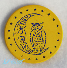 Rare YELLOW antique POKER CHIP w/ excellent picture of OWL on CRESCENT MOON