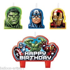 4 MARVEL'S AVENGERS EROI Children's Party Compleanno Decorazioni per torta candele