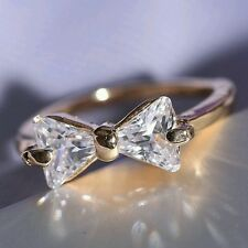 Size 8 pretty little Bow shaped crystal set Ring