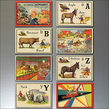 8 Vintage Retro French Children's Alphabet Fridge Magnets, set of 8