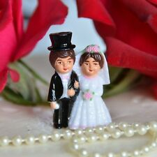 Set of 2 Cute! Traditional Bride and Groom Mini Cake Toppers Brown Hair Top Hat