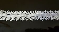 "OFF WHITE Crochet Lace Cotton With Satin Ribbon 1 1/4"" Trim Sold By The Yard"