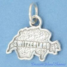 SWITZERLAND COUNTRY SWISS MAP .925 Solid Sterling Silver Charm 18mm Made In USA