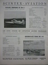 1960 PUB SCINTEX AVIATION RIOM AVION RUBIS ML 145 EMERAUDE CP 301 C AIRCRAFT AD