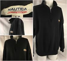 Nautica Competition Pullover Large Black 1/4 Zip Cotton Poly EUC YGI 61tt