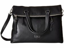 New Fossil Dawson $268 Soft Black Leather Foldover Crossbody Purse Tote Bag