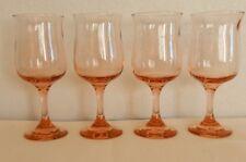 Set of 4 Vintage Pink Tulip Stemmed Goblets Wine Cordial Drinks Beverage