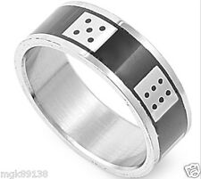 Titanium Stainless Steel Silver 316L Black Dice Vegas Good Luck Ring Band 10