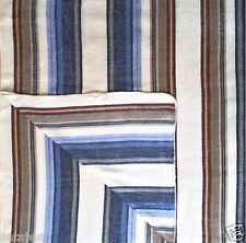 "SOFT & WARM WHITE BLUE STRIPED ALPACA LLAMA WOOL BLANKET 90"" X 70"" QUEEN SIZE"