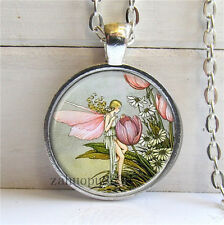Vintage Butterfly Cabochon Silver plated Glass Chain 25mm Pendant Necklace#1