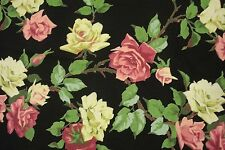 Pink & Yellow ROSE TABLE RUNNER 19x56 floral black cottage shabby