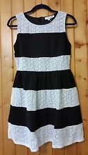 INA Modcloth Just That Stripe of Gal Black White Eyelet Dress Size L A-line