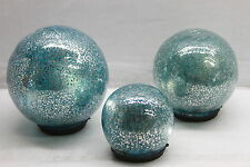 """Set of 3 Lit """"Color Within"""" Mercury Glass Spheres by Valerie BLUE RTL$44"""