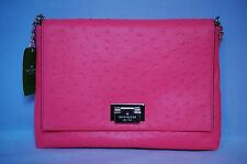 Kate Spade Windsor Square Autumn Pink Ostrich Leather Shoulder Chain Bag Purse