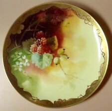 Antique WA PICKARD Handpainted Cabinet Plate - Raspberries/Gold/Artist Signed