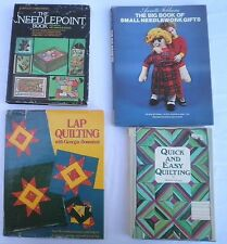 4 Vintage Crafts Books Quilts Quilting Needlepoint Needlework Hardcovers HC DJ