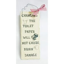 """10""""x 4"""" Wood Sign Changing The Toilet Paper Plaque Wall Hanging Decor Wooden 320"""