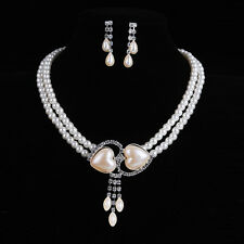 Fashion Women' Jewelry Sets Wedding Bridal Pearl &Crystal Necklace Earring Set