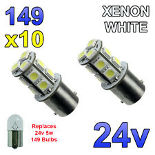 10 x White 24v LED BA15s 149 R5W 13 SMD Number Plate Interior Bulbs HGV Truck
