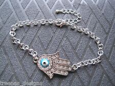 *GOOD LUCK EVIL EYE HAMSA HAND* Blue Eye SP CHARM Bracelet Kabbalah Wicca