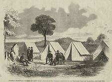 Stonewall Jackson in Camp, Engraving from Stolen Sketch, 1863 Antique Print