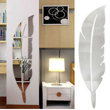 Feather Mirror Surface Wall Stickers for kids living rooms DIY Home Decal Uk