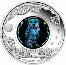 Australia 2014 Opals Series #6 Masked Owl $1 1 Oz Pure Silver Proof Dollar