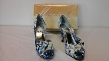 "Michaelangelo Garden Party Size 6 M Women's Blue Floral Print 4.5"" Heels Shoes"