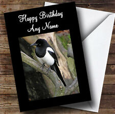 Magpie Bird Personalised Birthday Greetings Card