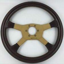 Raid Turbo brown leather car steering wheel. Genuine. Retro classic. Excellent