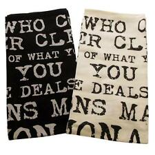 Set of 2 Vintage Quote Kitchen Towel Black and White Tea Towel Dish Cloth