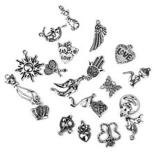 20pcs Mixed Shapes Tibetan Silver Pendants Charms Jewelry Making Findings