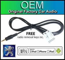 Peugeot 307 AUX lead, Peugeot RD4 car stereo AUX in cable iPod iPhone Android