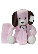 Hug & Snug 3-Piece Pink Dog Baby Gift Set Blanket Stuffed Toy and Security Blnkt