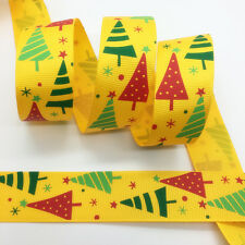 "New 5 yds 1"" 25mm Printed Christmas Grosgrain Ribbon Hair Bow DIY Sewing #182"