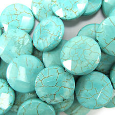 "18mm faceted blue howlite turquoise coin beads 7.5"" strand"