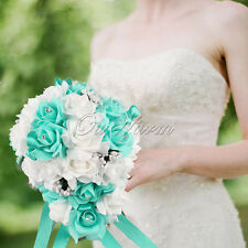Aqua Blue Rose Teardrop Crystal Bridal Bouquet Garland Flowers Wedding Decor Hot