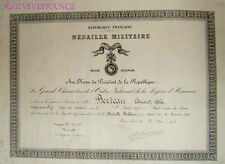 DIPLOME MEDAILLE MILITAIRE ADJUDANT MATERIEL 1950