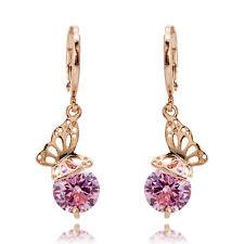 Women Beauty Earring Rose Gold Crystal Butterfly Cubic Zirconia Ear Ring Jewelry