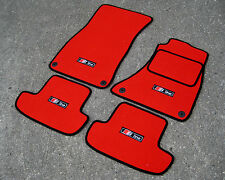Red/Black SUPER VELOUR Car Mats to fit Audi A5 (2007-2016) + S-Line Logos (x4)