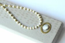 """Silpada """"Go Coastal"""" Brass Sterling Silver Coin Pearl Necklace N1894"""