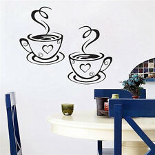 Black Coffee Cups Cafe Tea Wall Stickers Art Vinyl Decal for Kitchen Home Decor